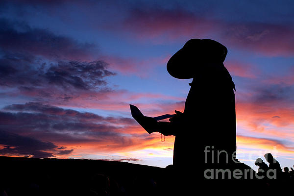 Pioneer Silhouette Reading Letter Print by Cindy Singleton