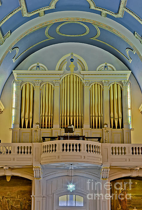 Pipe Organ At Saint Michaels Print by Susan Candelario