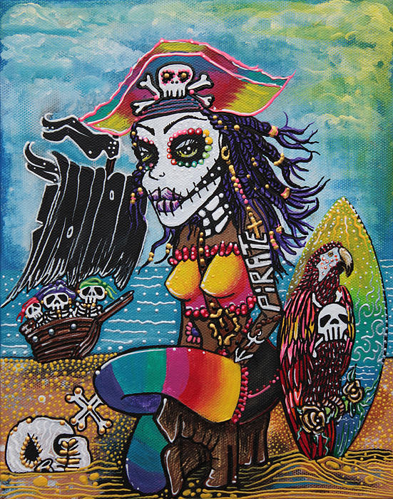 Pirate Girl - Surfs Up Print by Laura Barbosa