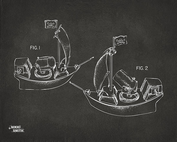 Pirate Ship Patent Artwork - Gray Print by Nikki Marie Smith