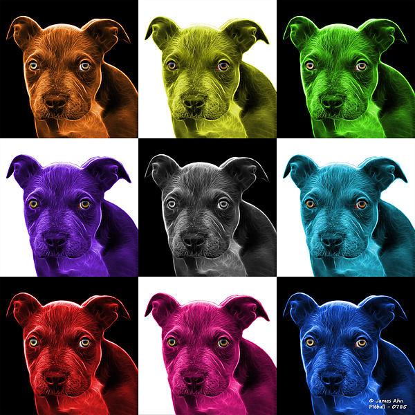 Pitbull Puppy Pop Art - 7085 V1 - M Print by James Ahn