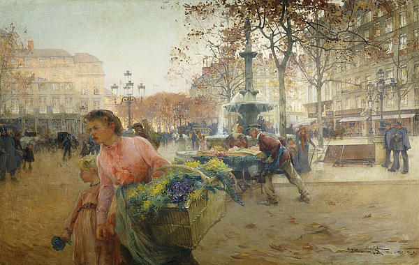 Place Du Theatre Francais Paris Print by Eugene Galien-Laloue