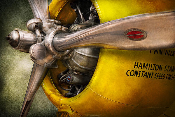 Plane - Pilot - Prop - Twin Wasp Print by Mike Savad