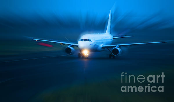 Plane Takes Of At Dusk Print by Michal Bednarek
