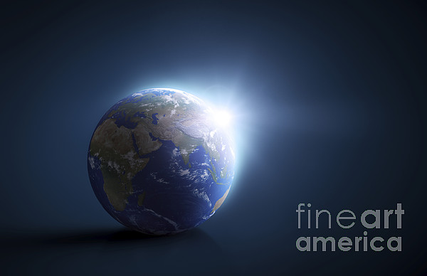Planet Earth And Sunlight On A Dark Print by Evgeny Kuklev