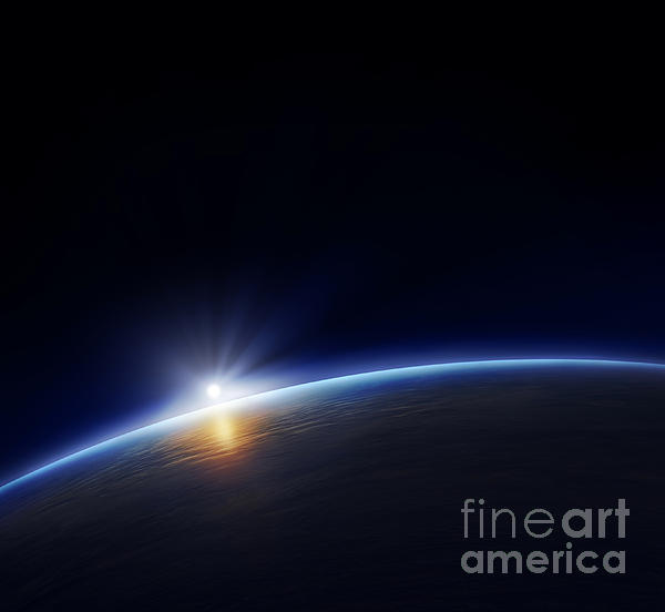 Planet Earth With Rising Sun Print by Johan Swanepoel