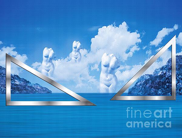 Platonic Landscape In Blue  Print by Nikos Smyrnios