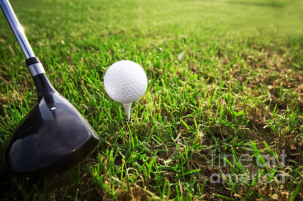 Playing Golf. Club And Ball On Tee Print by Michal Bednarek