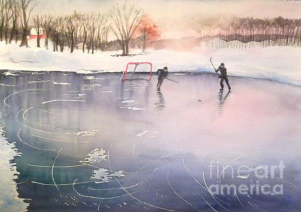 Playing On Ice Print by Yoshiko Mishina