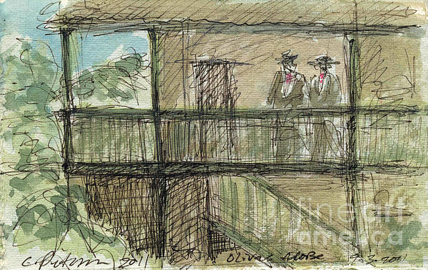 Plein Air Sketchbook. Olivas Adobe Ventura California Concert 9.3.2011. Men In Traditional Costume Print by Cathy Peterson