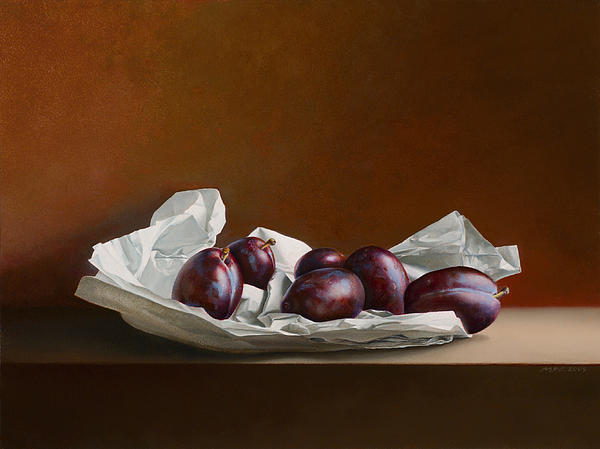 Mark Van crombrugge - Plums on Wrapping Paper