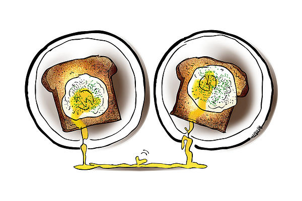 Poached Egg Love Print by Mark Armstrong