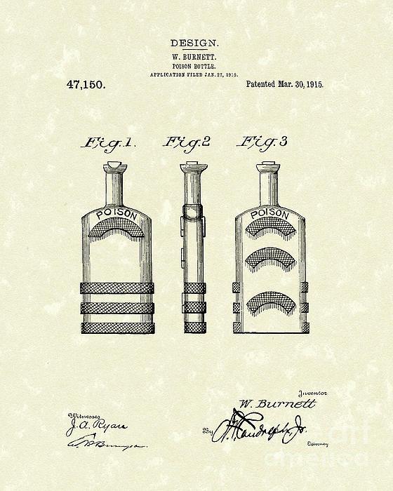 Poison Bottle 1915 Patent Art Print by Prior Art Design