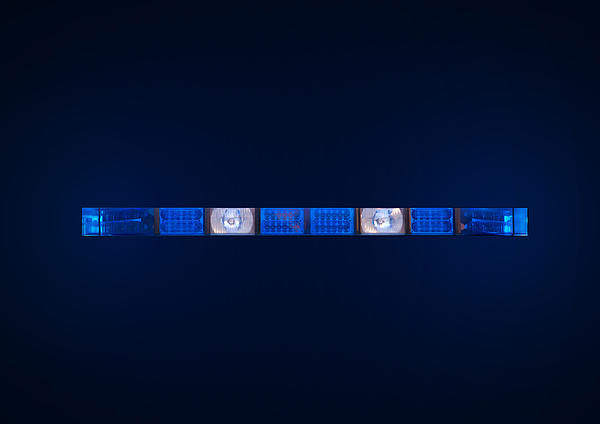 Police Emergency Lights With Blue Surrounding Light Print by Fizzy Image