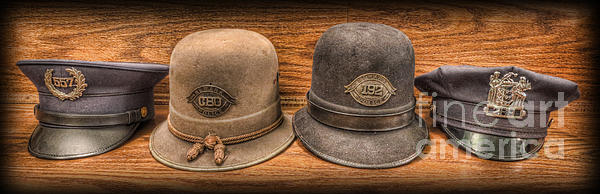Police Officer - Vintage Police Hats Print by Lee Dos Santos