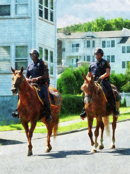 Police - Two Mounted Police Print by Susan Savad