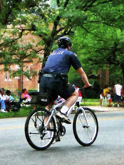 Policeman - Police Bicycle Patrol Print by Susan Savad