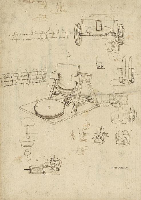 Polishing Machine Formed By Two Wheeled Carriage From Atlantic Codex Print by Leonardo Da Vinci