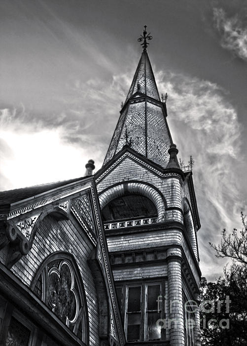 Pomona Seventh Day Adventist Church In Black And White Print by Gregory Dyer