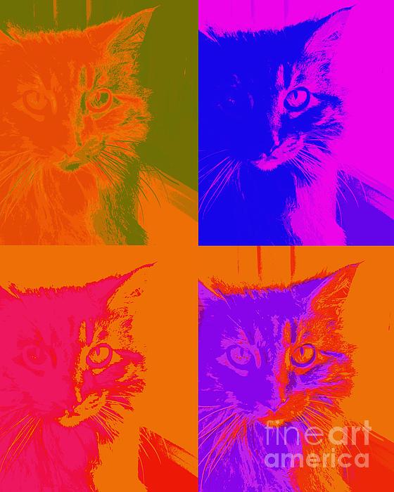 Pop Art Cat Print by Ann Powell