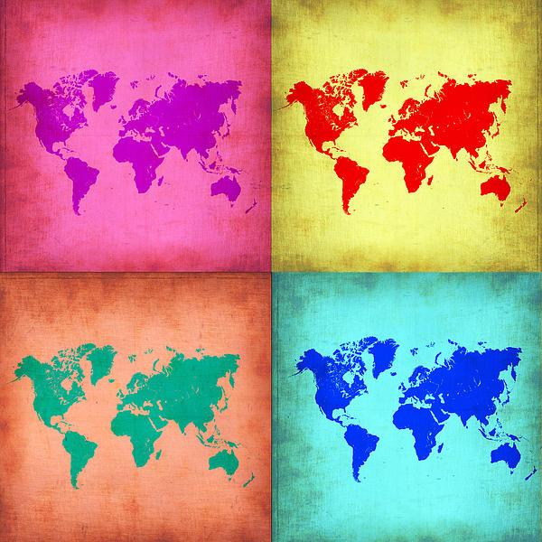 Pop Art World Map 1 Print by Naxart Studio