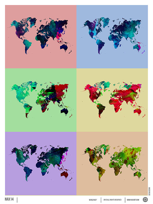Pop Art World Map Print by Naxart Studio