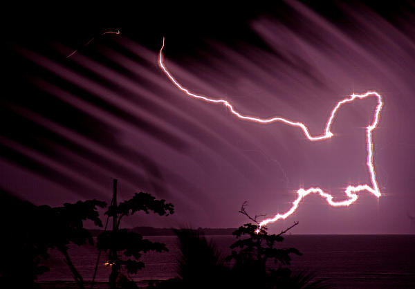 Popa Island Lightning Print by Bob Hislop