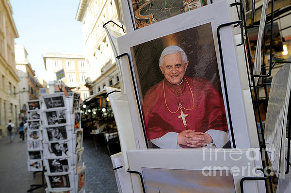 Pope Benedict Xvi. Postcard In A Rack. Rome. Lazio. Italy. Europe Print by Bernard Jaubert