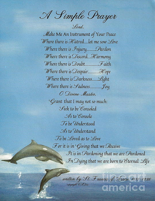 Pope Francis St. Francis Simple Prayer Dolphins Tking A Leap Of Faith Print by Claudette Armstrong
