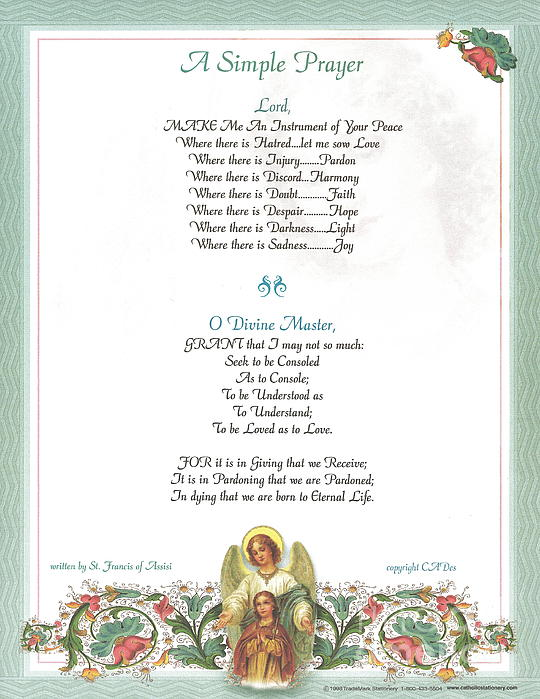 Pope Francis St. Francis Simple Prayer Florentine Angel Print by Desiderata Gallery