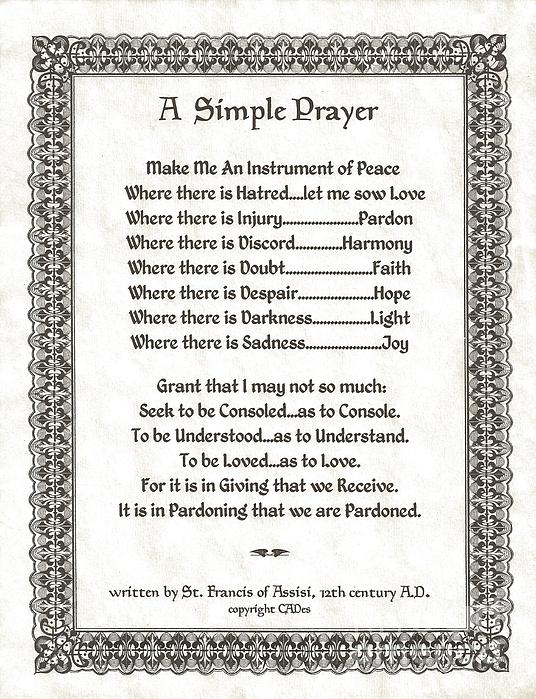 Pope Francis St. Francis Simple Prayer Pray For Peace On Parchment Print by Desiderata Gallery