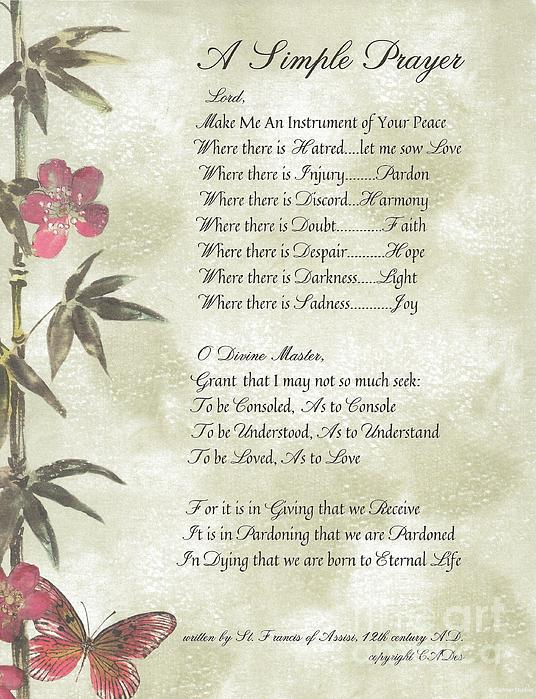 Pope Francis St. Francis Simple Prayerbutterfly On Bamboo Print by Desiderata Gallery