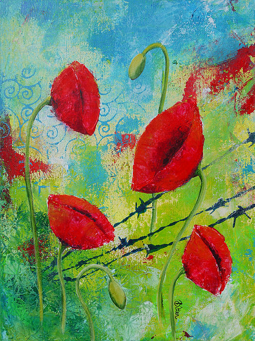 Poppies And Barbed Wire Print by Bitten Kari