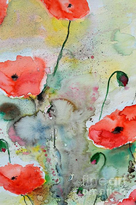 Poppies - Flower Painting Print by Ismeta Gruenwald
