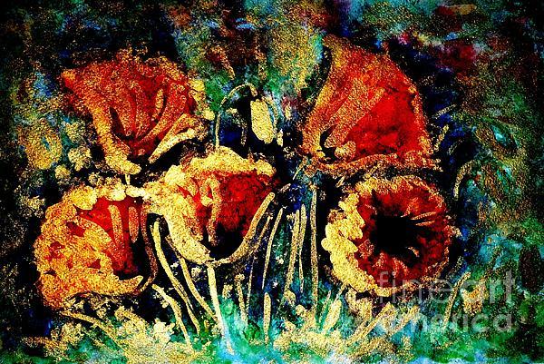 Poppies In Gold Print by Zaira Dzhaubaeva