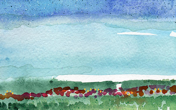 Poppy Field- Landscape Painting Print by Linda Woods