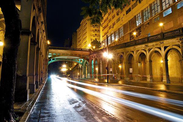 Porto Alegre - Viaduto Otavio Rocha By Night Print by Carlos Alkmin