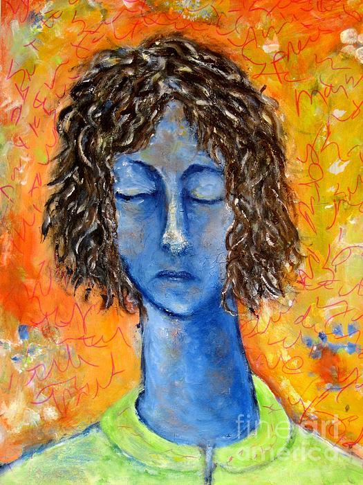 Portrait In Blue Print by Chaline Ouellet