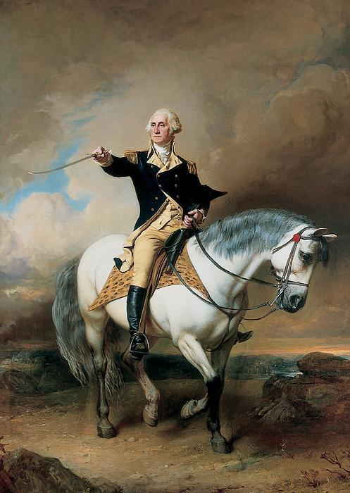 Portrait Of George Washington Taking The Salute At Trenton Print by John Faed