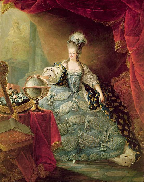 Portrait Of Marie Antoinette Queen Of France Print by Jean-Baptise Andre Gautier DAgoty