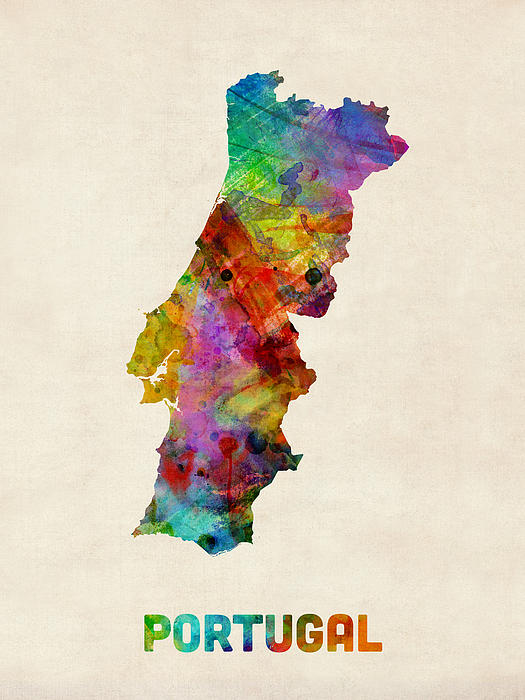 Portugal Watercolor Map Print by Michael Tompsett