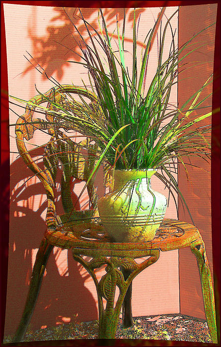 Potted Plant In Chair No 3 Print by Ginny Schmidt