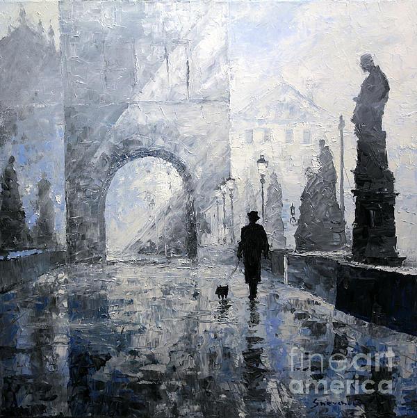 Prague Charles Bridge Morning Walk Print by Yuriy Shevchuk