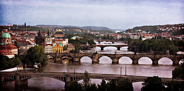 Prague Cityscape - Texture Print by Barry O Carroll