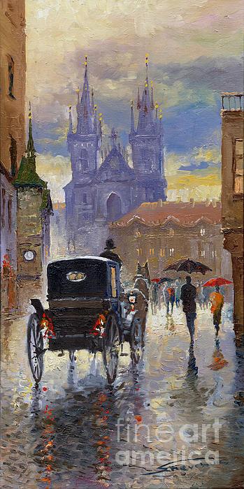 Prague Old Town Square Old Cab Print by Yuriy  Shevchuk