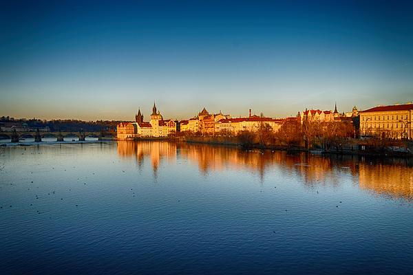 Prague Sunset Print by Victor Zahariev