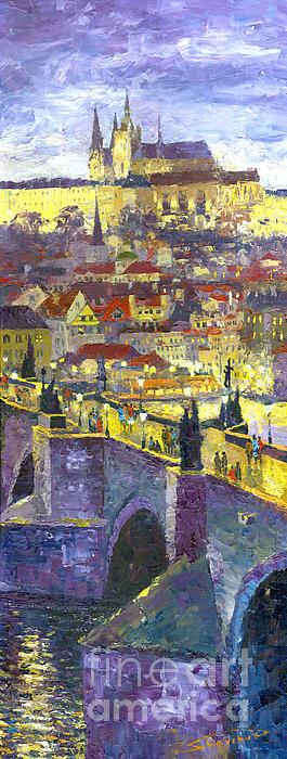 Prague Violet Panorama Night Light Charles Bridge Print by Yuriy Shevchuk