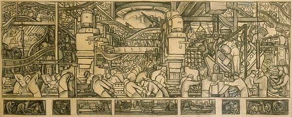 Presentation Drawing Of The Automotive Panel For The North Wall Of The Detroit Industry Mural Print by Diego Rivera