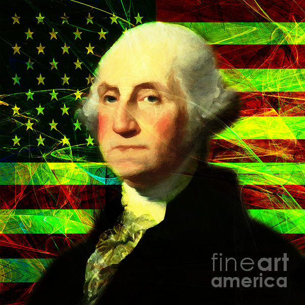President George Washington V2 P50 Square Print by Wingsdomain Art and Photography