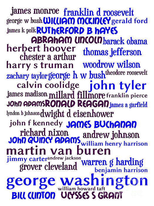 Presidents Of The United States 20130625whi Print by Wingsdomain Art and Photography